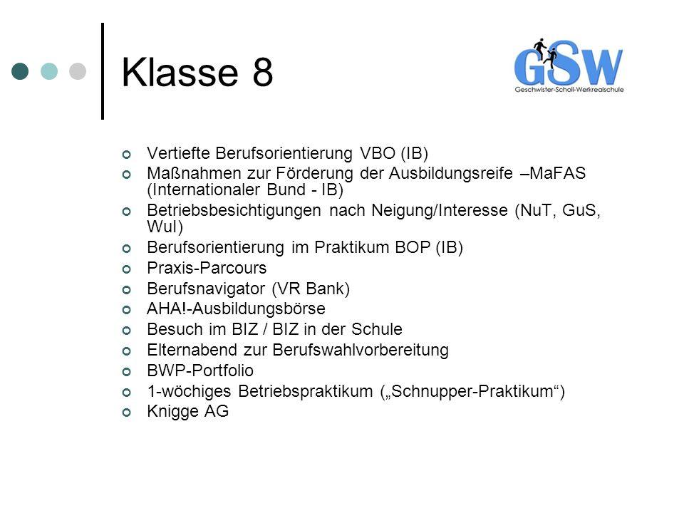 Klasse 8 Vertiefte Berufsorientierung VBO (IB)