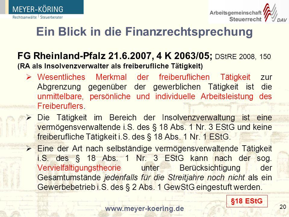 Ein Blick in die Finanzrechtsprechung