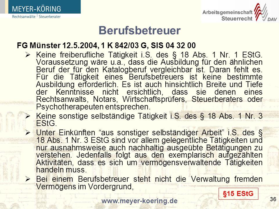 Berufsbetreuer FG Münster 12.5.2004, 1 K 842/03 G, SIS 04 32 00