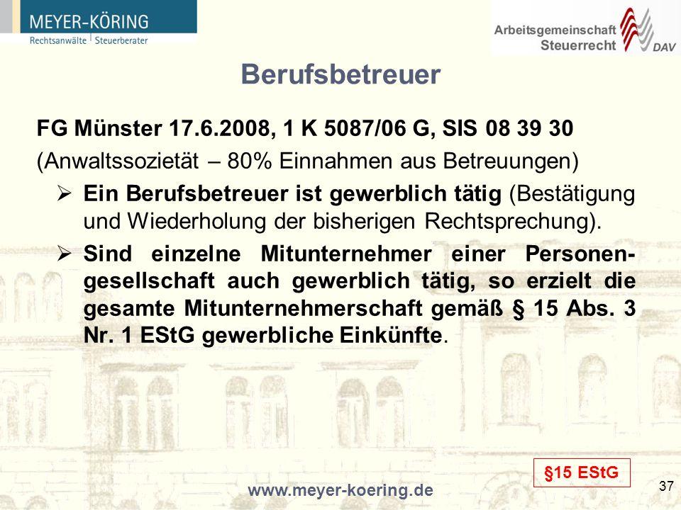 Berufsbetreuer FG Münster 17.6.2008, 1 K 5087/06 G, SIS 08 39 30