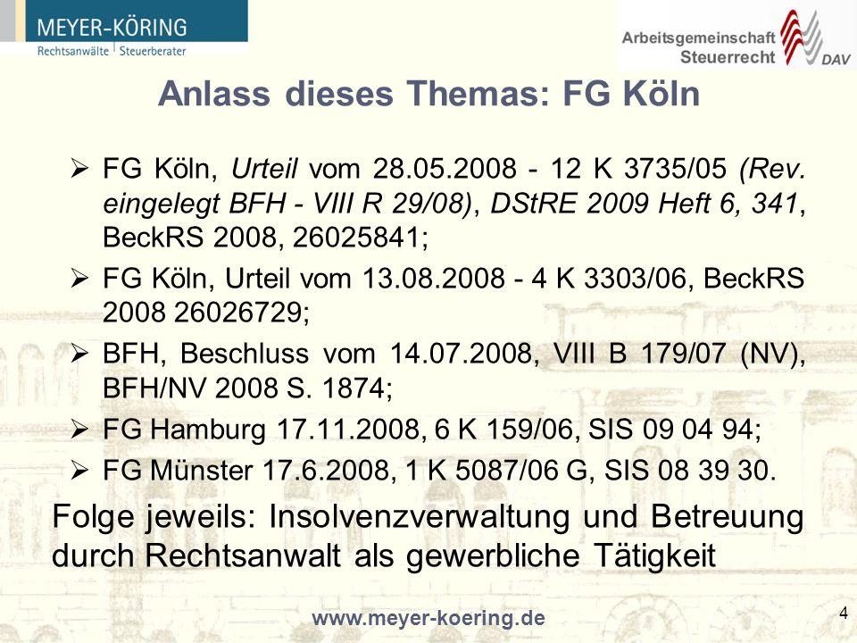 Anlass dieses Themas: FG Köln