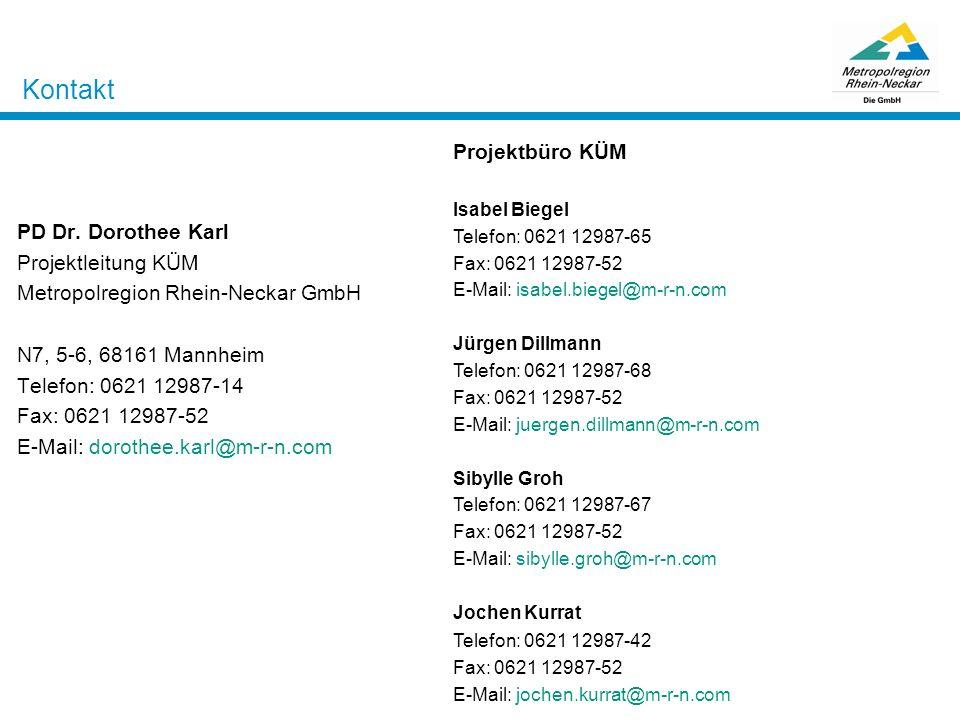 Kontakt Projektbüro KÜM PD Dr. Dorothee Karl Projektleitung KÜM