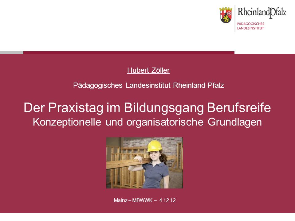 Hubert Zöller Pädagogisches Landesinstitut Rheinland-Pfalz