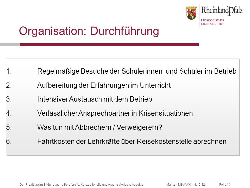 Organisation: Durchführung