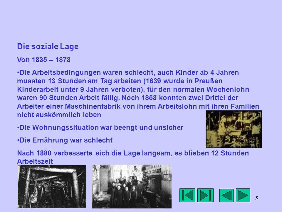 Die soziale Lage Von 1835 – 1873.