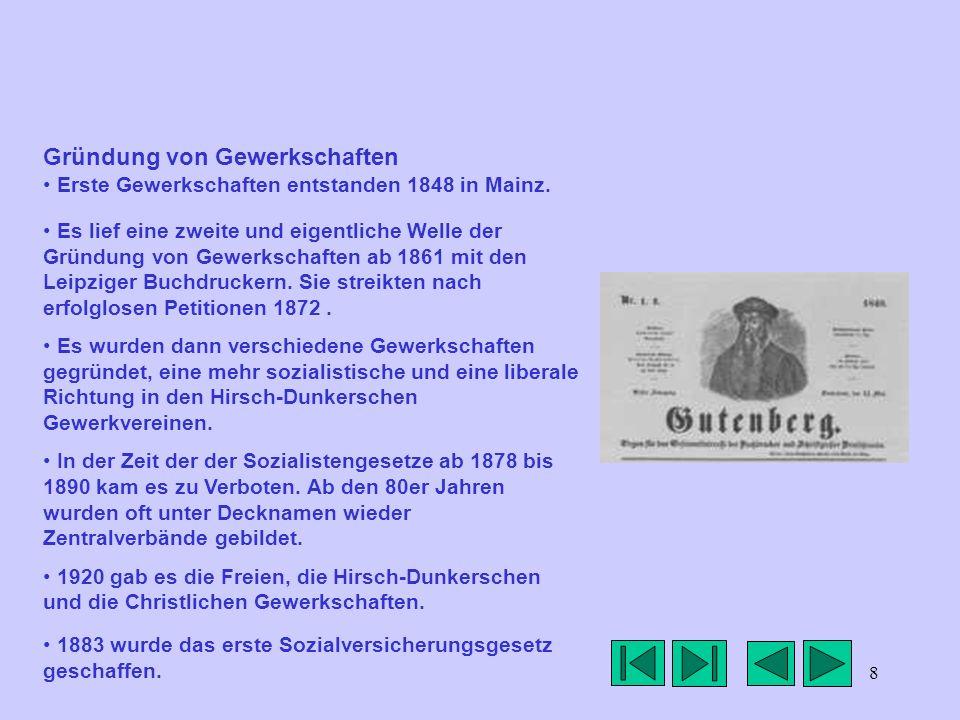 Gründung von Gewerkschaften