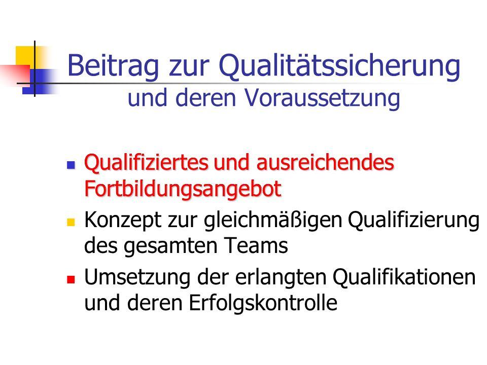 Beitrag zur Qualitätssicherung und deren Voraussetzung