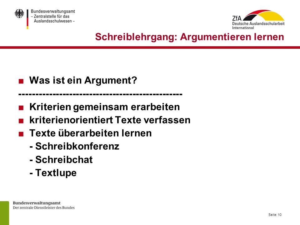 Schreiblehrgang: Argumentieren lernen