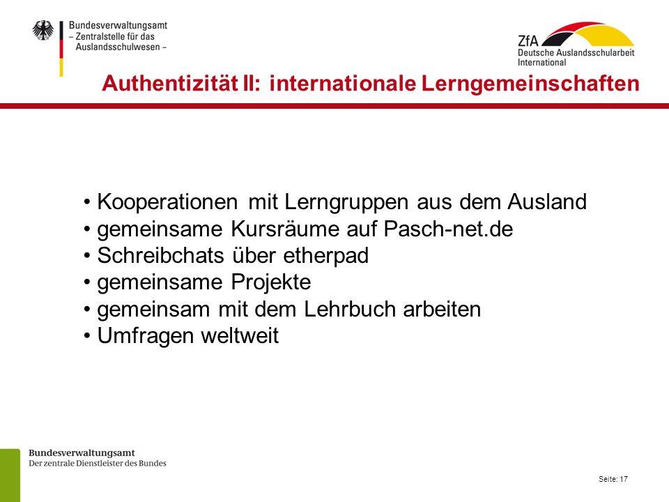 Authentizität II: internationale Lerngemeinschaften