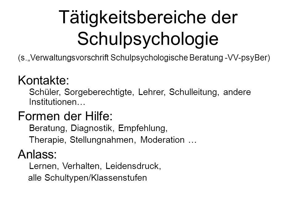 Tätigkeitsbereiche der Schulpsychologie