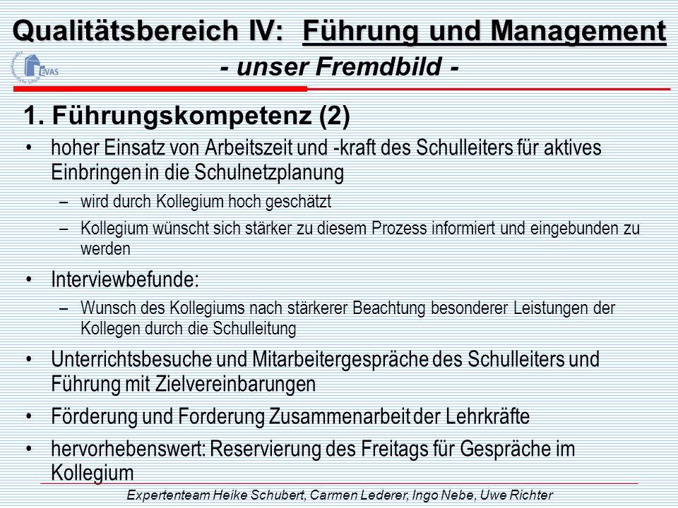 Qualitätsbereich IV: Führung und Management