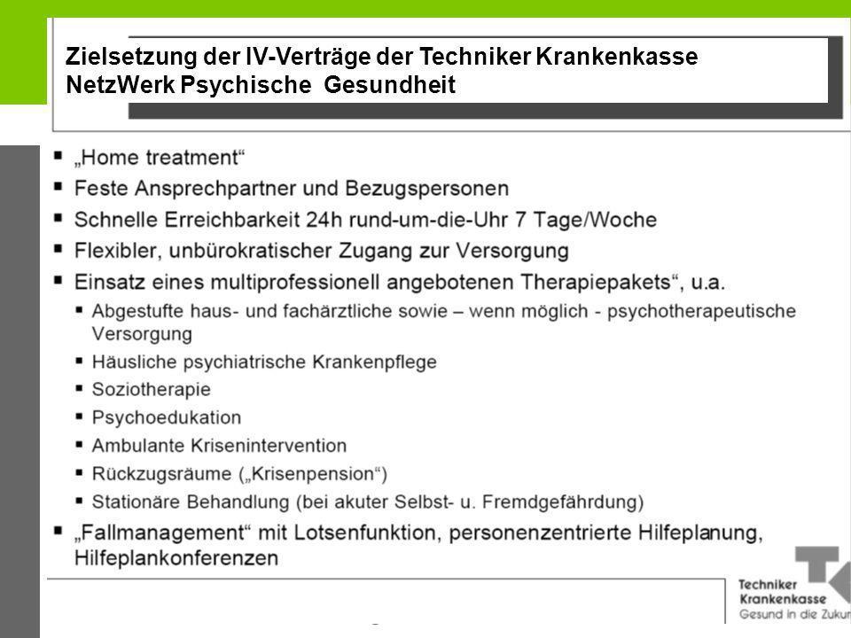Zielsetzung der IV-Verträge der Techniker Krankenkasse NetzWerk Psychische Gesundheit