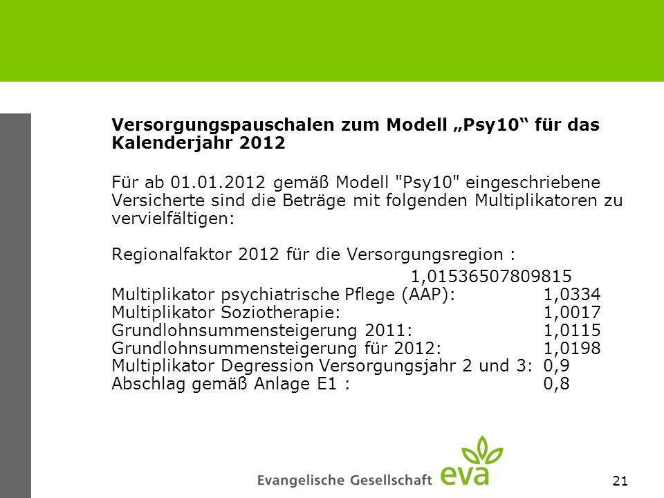 """Versorgungspauschalen zum Modell """"Psy10 für das Kalenderjahr 2012"""