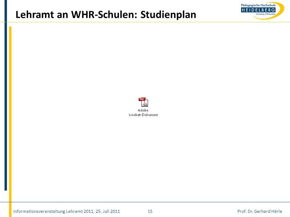 Lehramt an WHR-Schulen: Studienplan
