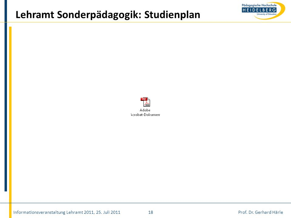 Lehramt Sonderpädagogik: Studienplan