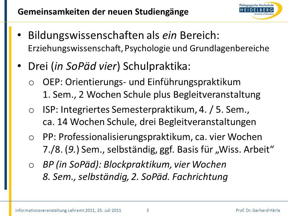 Drei (in SoPäd vier) Schulpraktika: