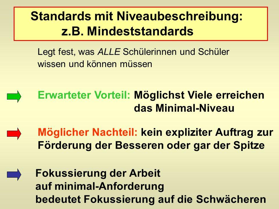 Standards mit Niveaubeschreibung: z.B. Mindeststandards