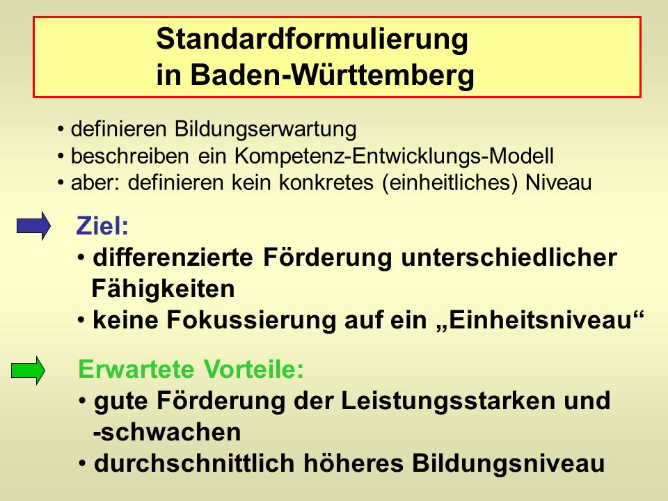 Standardformulierung in Baden-Württemberg