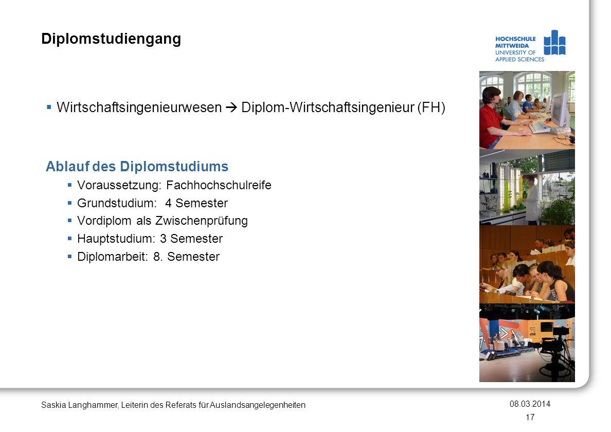 Diplomstudiengang Wirtschaftsingenieurwesen  Diplom-Wirtschaftsingenieur (FH) Ablauf des Diplomstudiums.
