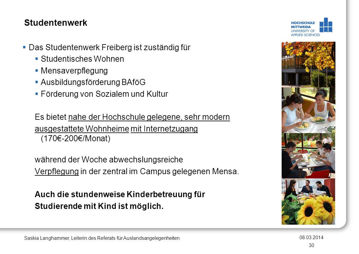 Studentenwerk Das Studentenwerk Freiberg ist zuständig für
