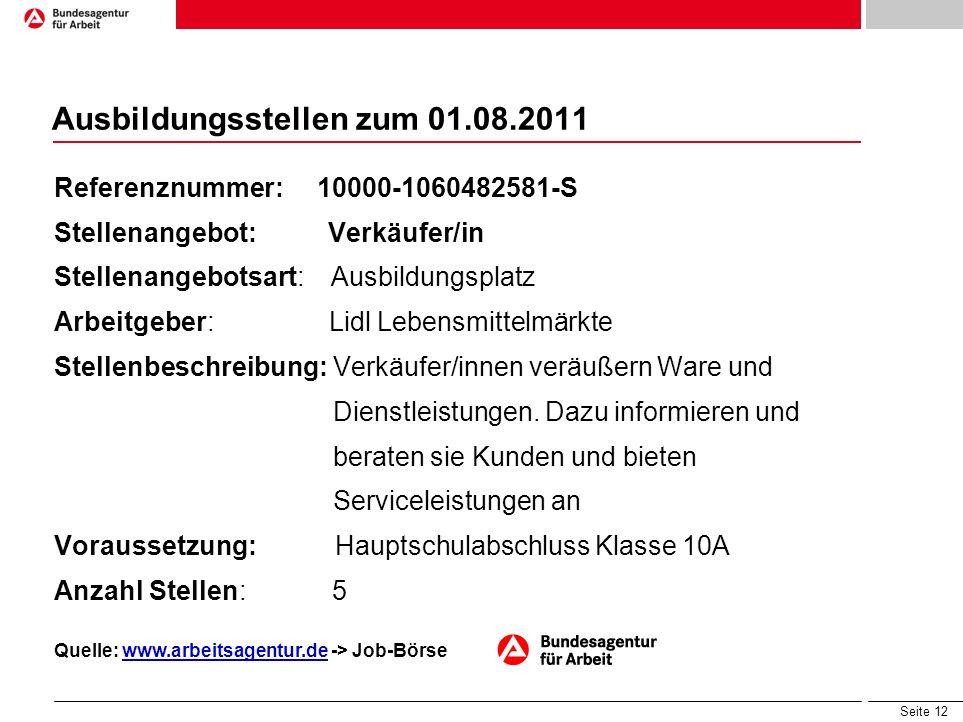 Ausbildungsstellen zum 01.08.2011