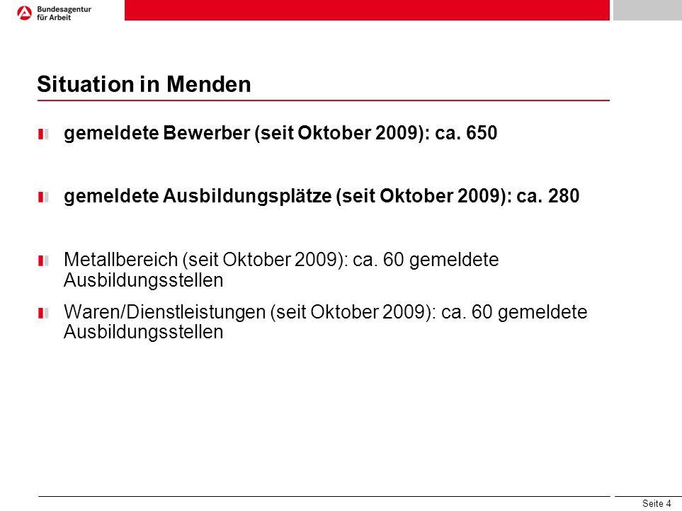 Situation in Menden gemeldete Bewerber (seit Oktober 2009): ca. 650