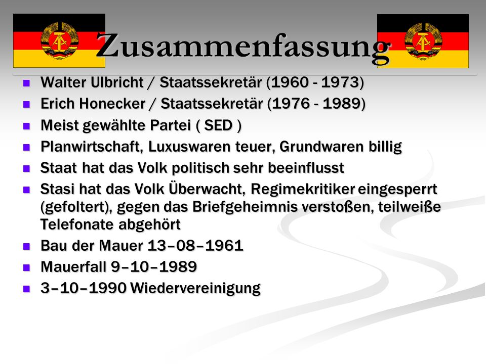 Zusammenfassung Walter Ulbricht / Staatssekretär (1960 - 1973)
