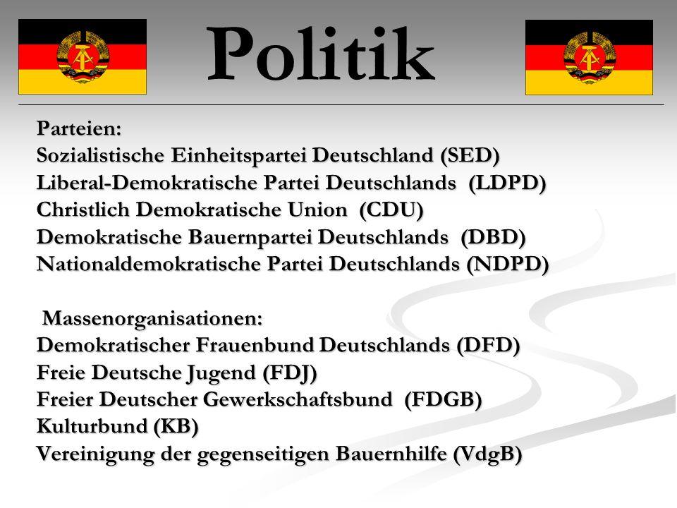 Politik Parteien: Sozialistische Einheitspartei Deutschland (SED)