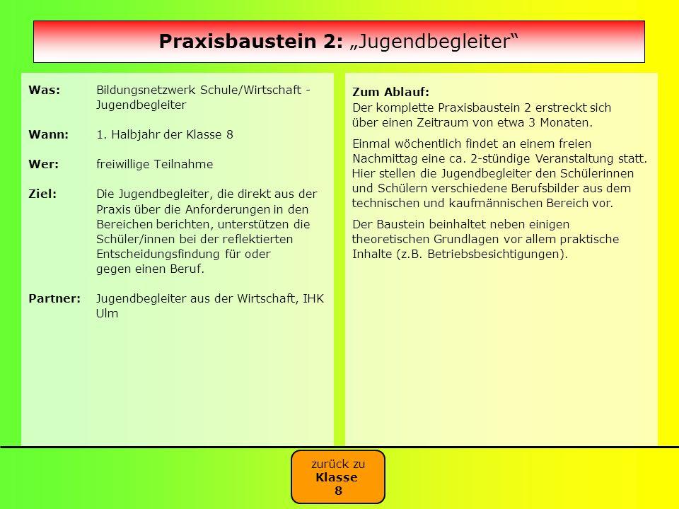 "Praxisbaustein 2: ""Jugendbegleiter"
