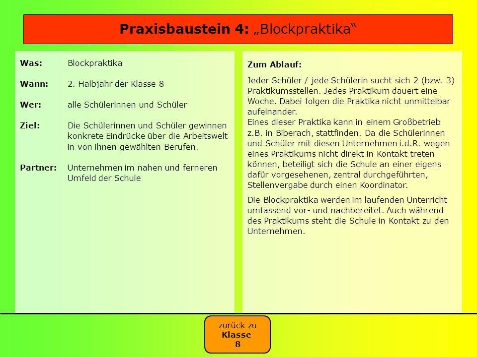 "Praxisbaustein 4: ""Blockpraktika"