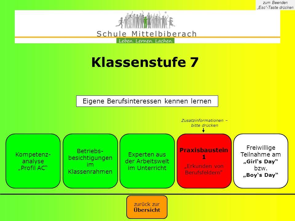 Klassenstufe 7 Eigene Berufsinteressen kennen lernen Kompetenz-analyse