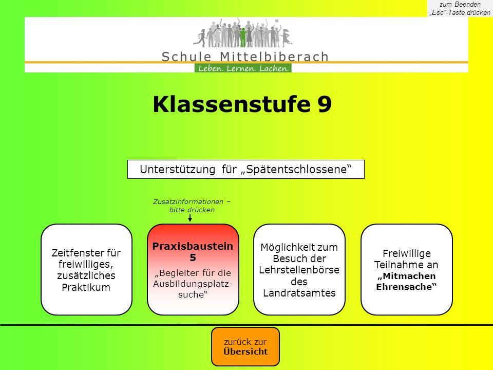 """Klassenstufe 9 Unterstützung für """"Spätentschlossene Praxisbaustein 5"""