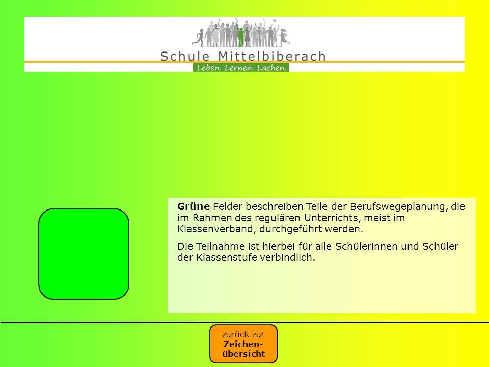 Grüne Felder beschreiben Teile der Berufswegeplanung, die im Rahmen des regulären Unterrichts, meist im Klassenverband, durchgeführt werden.