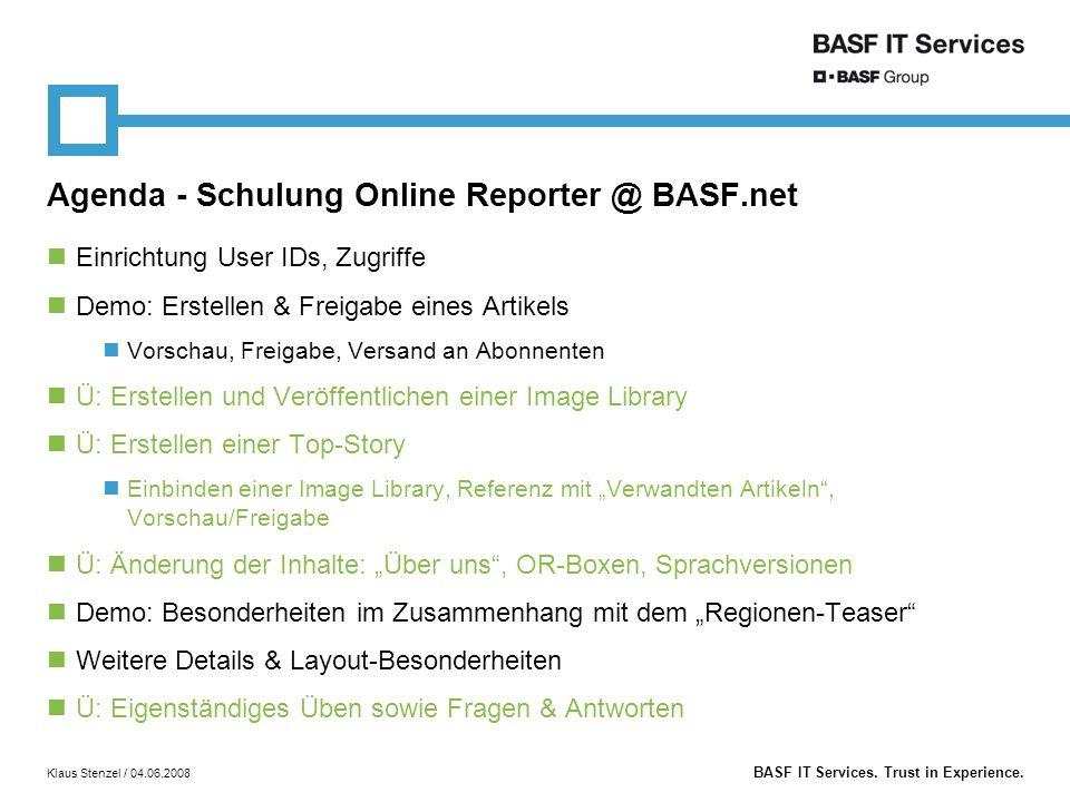 Agenda - Schulung Online Reporter @ BASF.net