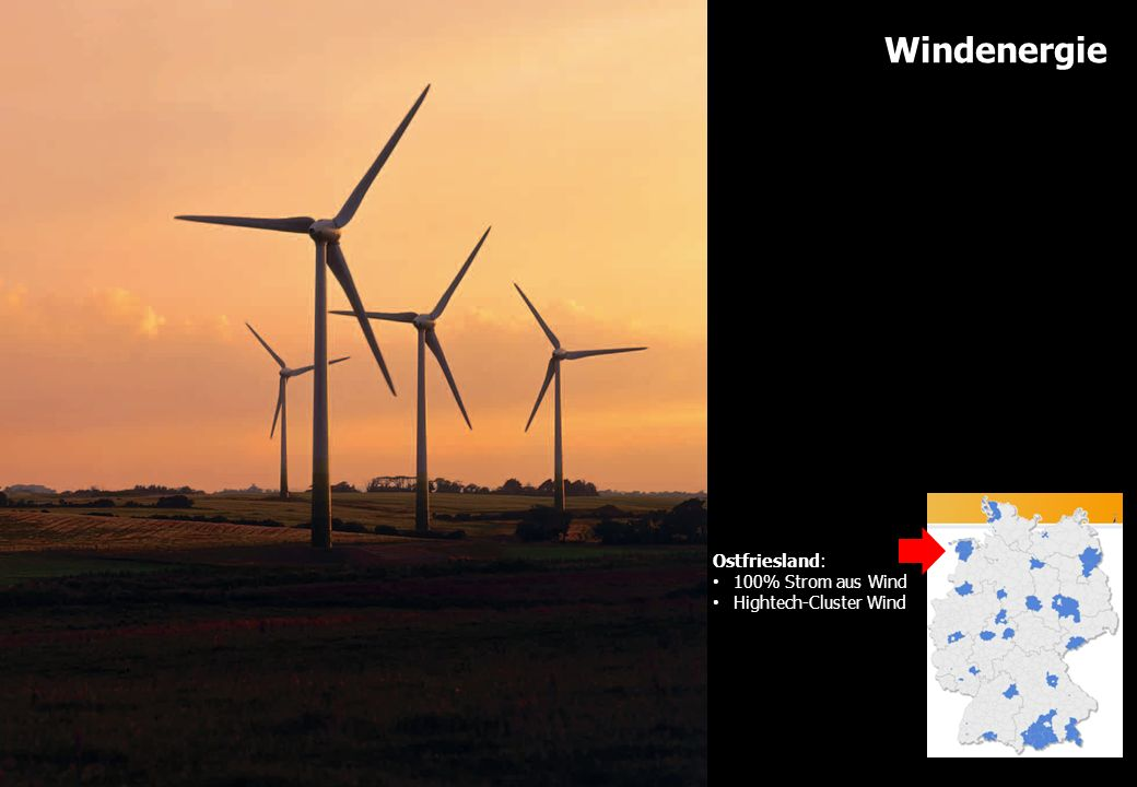 Windenergie Ostfriesland: 100% Strom aus Wind Hightech-Cluster Wind