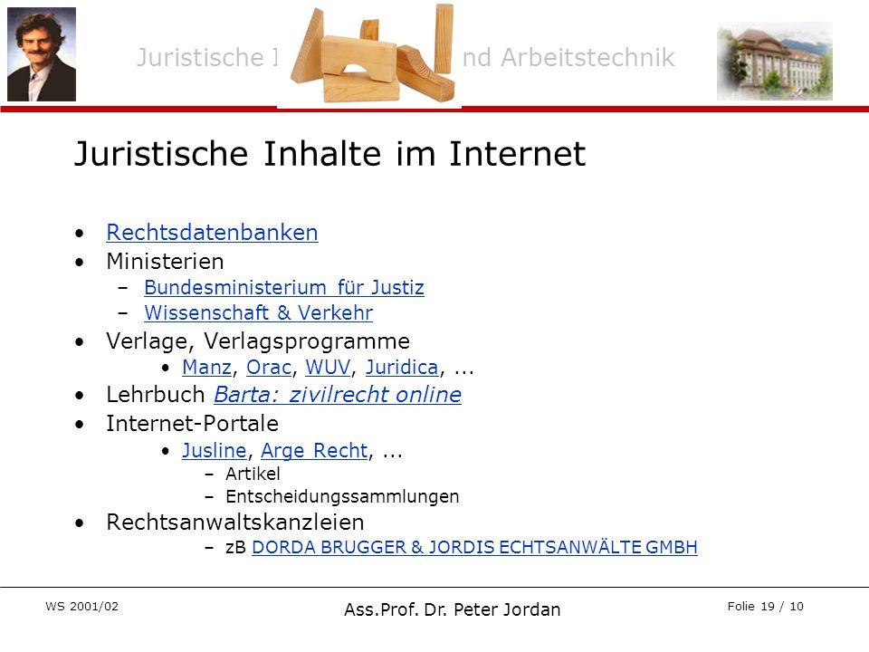 Juristische Inhalte im Internet