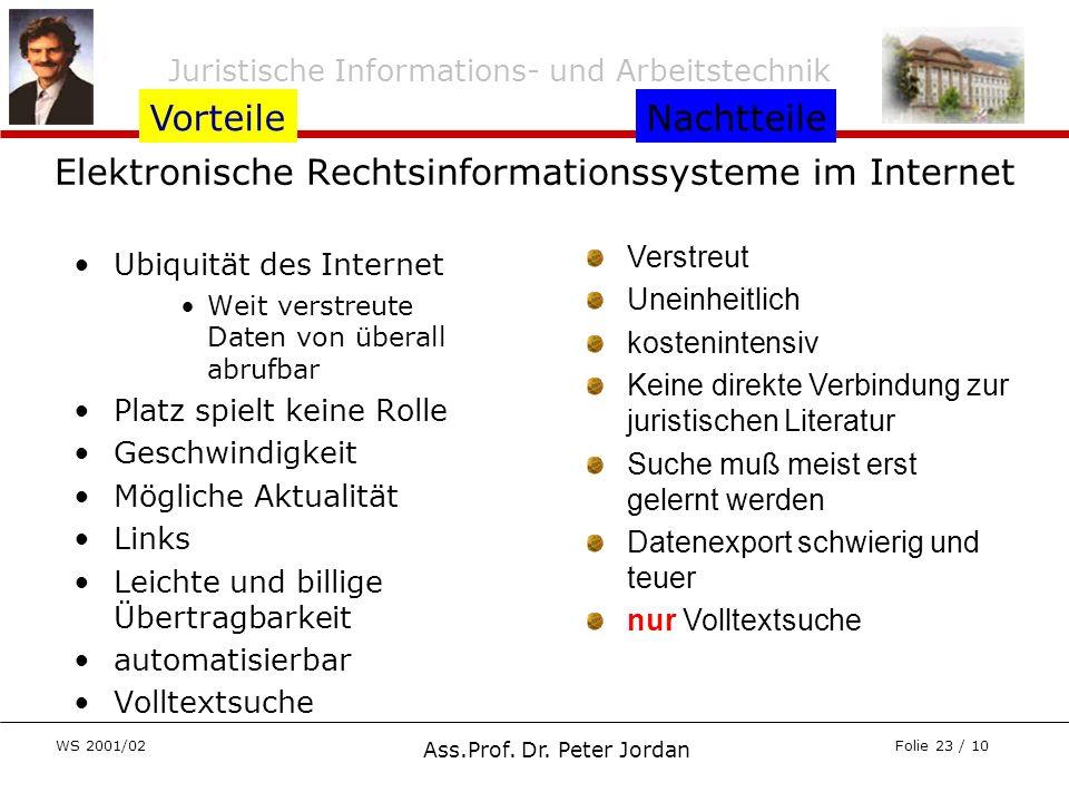 Elektronische Rechtsinformationssysteme im Internet
