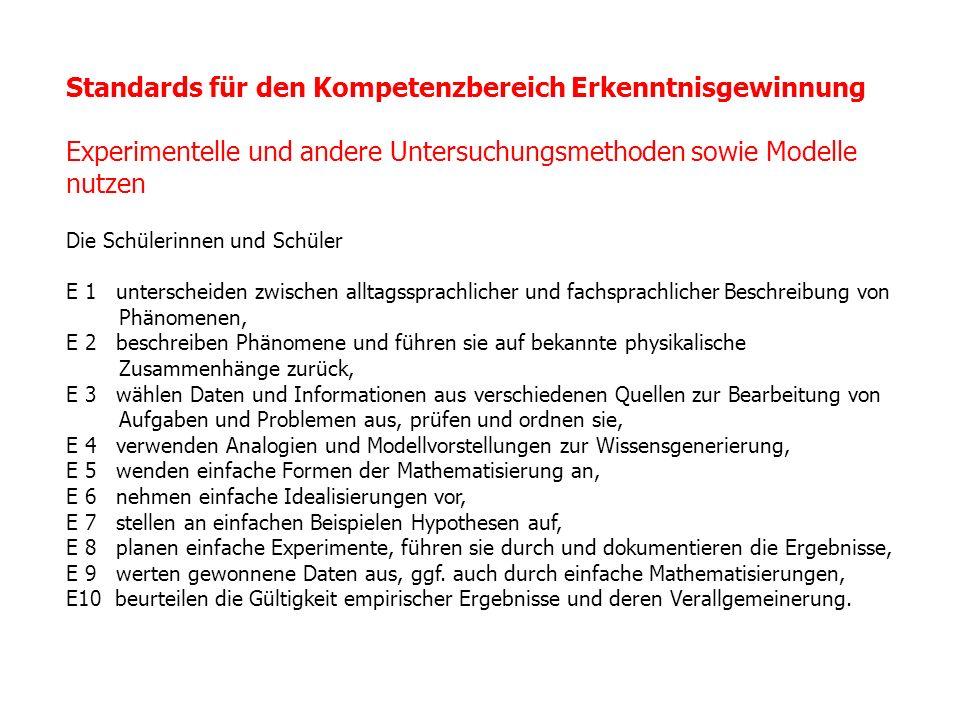 Standards für den Kompetenzbereich Erkenntnisgewinnung