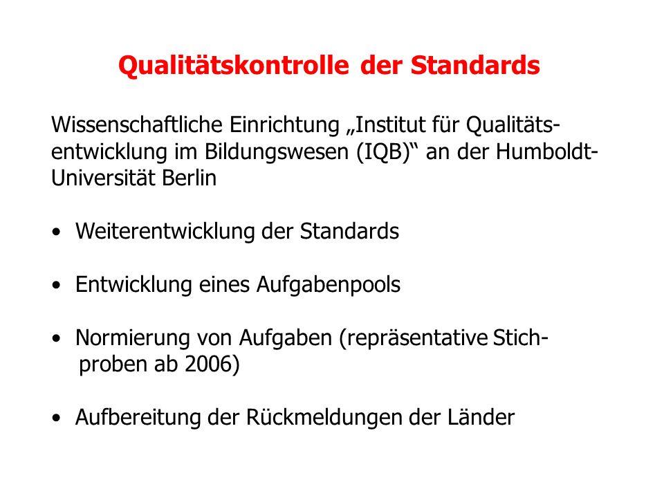 Qualitätskontrolle der Standards
