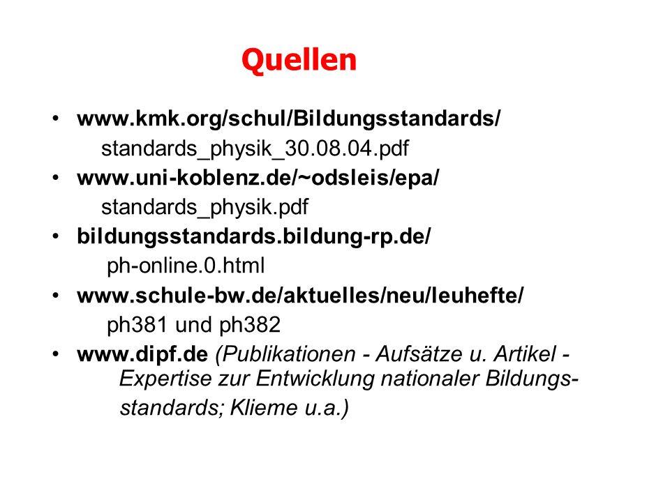 Quellen www.kmk.org/schul/Bildungsstandards/