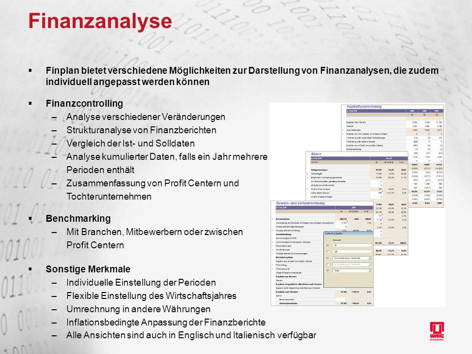 Finanzanalyse Finplan bietet verschiedene Möglichkeiten zur Darstellung von Finanzanalysen, die zudem individuell angepasst werden können.