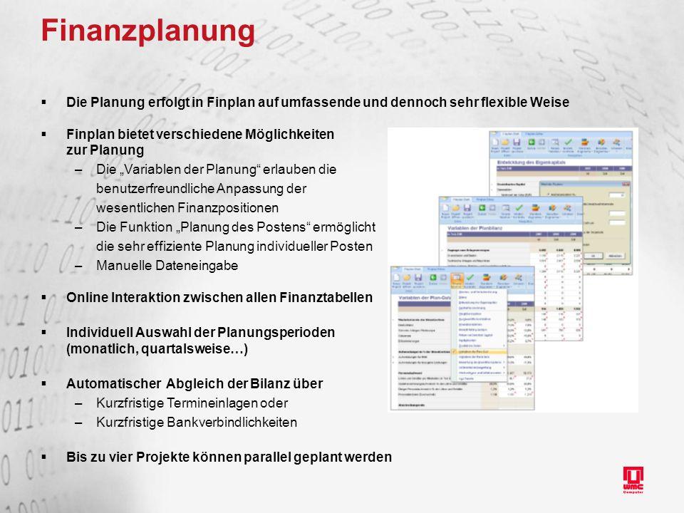 Finanzplanung Die Planung erfolgt in Finplan auf umfassende und dennoch sehr flexible Weise. Finplan bietet verschiedene Möglichkeiten.