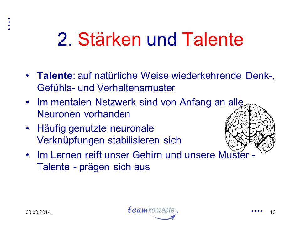 2. Stärken und Talente Talente: auf natürliche Weise wiederkehrende Denk-, Gefühls- und Verhaltensmuster.