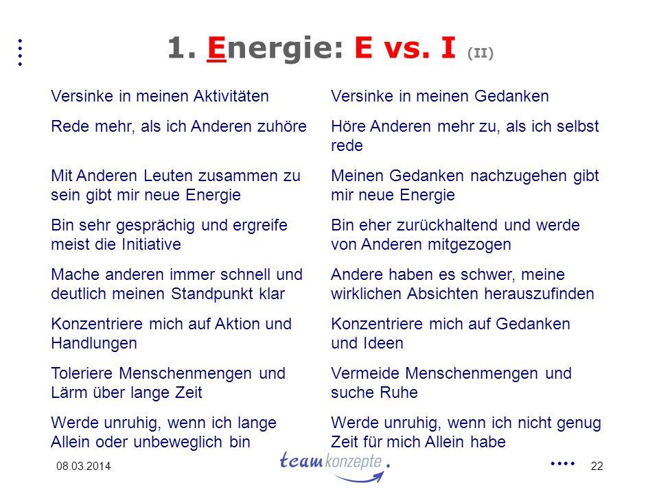1. Energie: E vs. I (II) Versinke in meinen Aktivitäten
