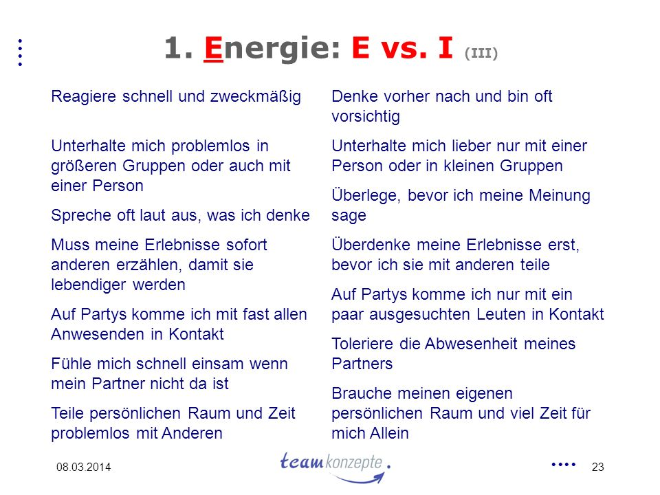 1. Energie: E vs. I (III) Reagiere schnell und zweckmäßig