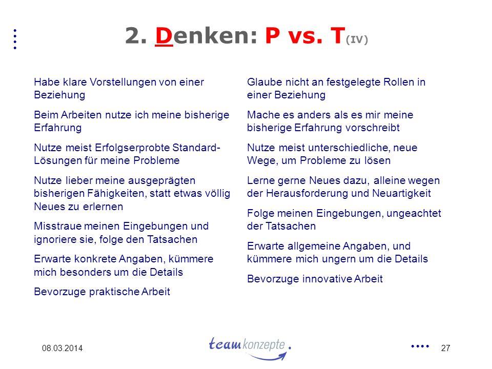 2. Denken: P vs. T(IV) Habe klare Vorstellungen von einer Beziehung