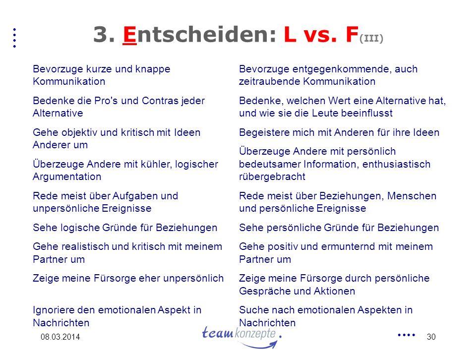 3. Entscheiden: L vs. F(III)