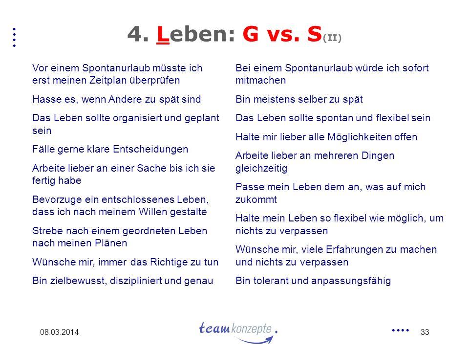 4. Leben: G vs. S(II) Vor einem Spontanurlaub müsste ich erst meinen Zeitplan überprüfen. Hasse es, wenn Andere zu spät sind.