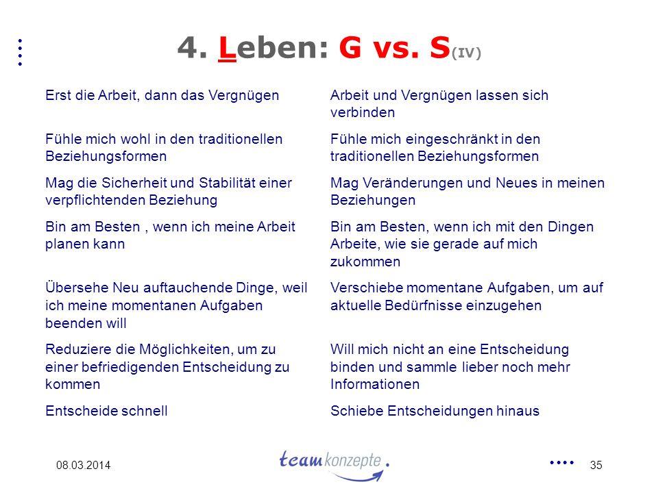 4. Leben: G vs. S(IV) Erst die Arbeit, dann das Vergnügen