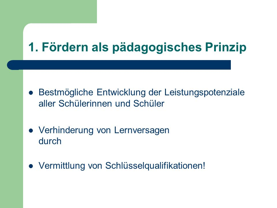 1. Fördern als pädagogisches Prinzip